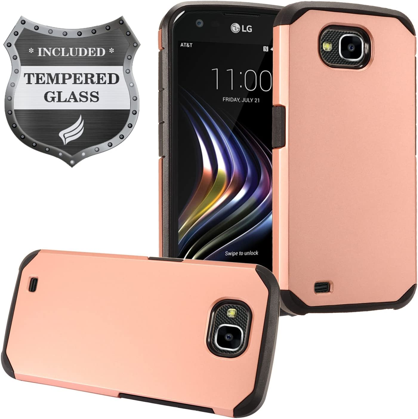 For LG X Venture M701/H700, LG X Calibur - Rubberized Hybrid Hard Case + Tempered Glass Screen Protector - Black/RoseGold