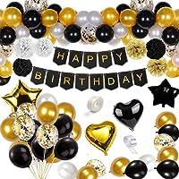 Korins Globos Cumpleaños Decoracione, Feliz Cumpleaños Decoración Fiesta Cumpleaños Negro Oro, Suministros y Decoración Globo para Hombres y Mujeres Adultos Decoración de Fiesta
