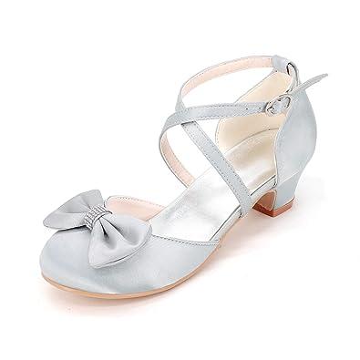 Chenxia Chaussures de Mariage pour Filles Chaussures Comfort Girl Glitter Summer Fall Party & Robe de Soirée Walking Comfort Girl Shoes, Red, 35