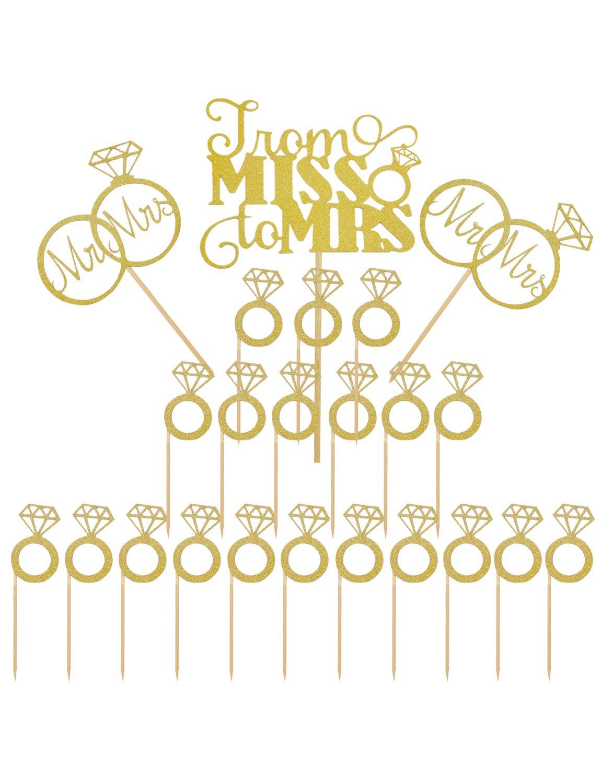 Joyclub Gold Mr Mrs Cake Topper Diamond Ring Cupcake Picks For Wedding Bridal Shower Engagement Decorations Supplies23 Pack Amazon Grocery Gourmet: Wedding Ring Cupcake Picks At Websimilar.org