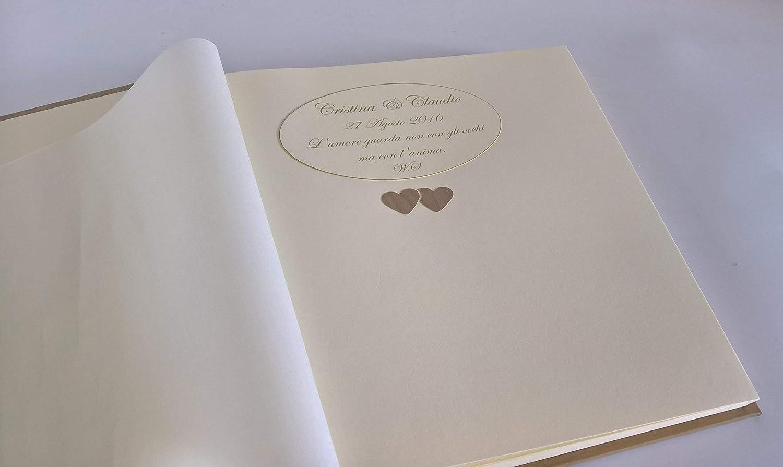 Idee Fotografiche Anniversario : Album fotografico in carta effetto legno con frase dedica incisa e