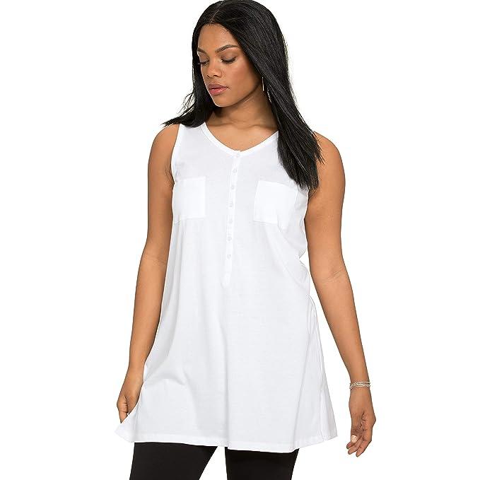 c6a44a0af66 Roamans Women's Plus Size Button-Front Henley Ultimate Tunic Tank - White,  ...