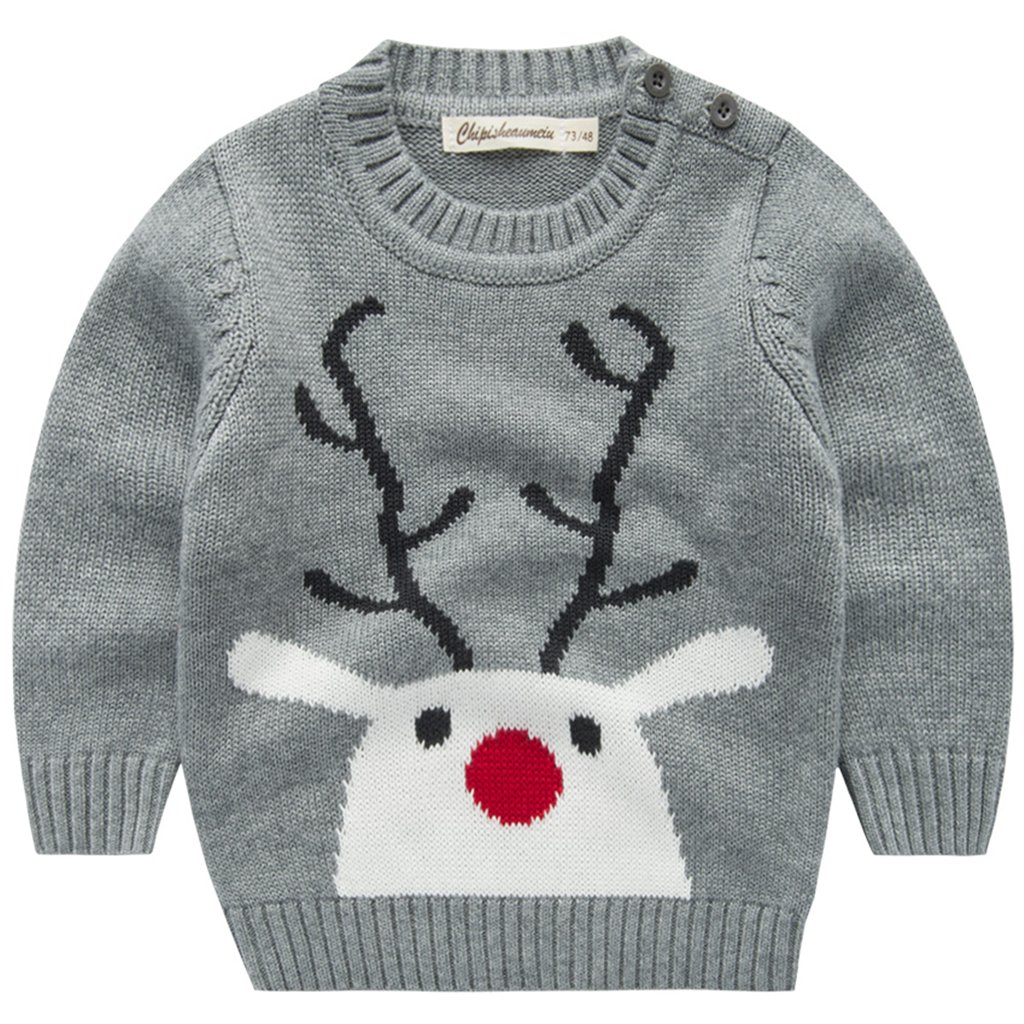 Boys Christmas Knitted Jumper Reindeer Sweater Toddler Novelty Crewneck Pullover