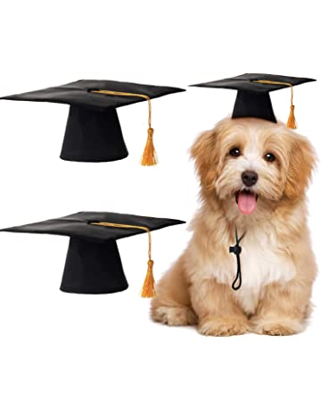 8fad4c06d3d 2 Pieces Pet Graduation Caps Small Dog Graduation Hats with Yellow Tassel  Pet Graduation Costume for