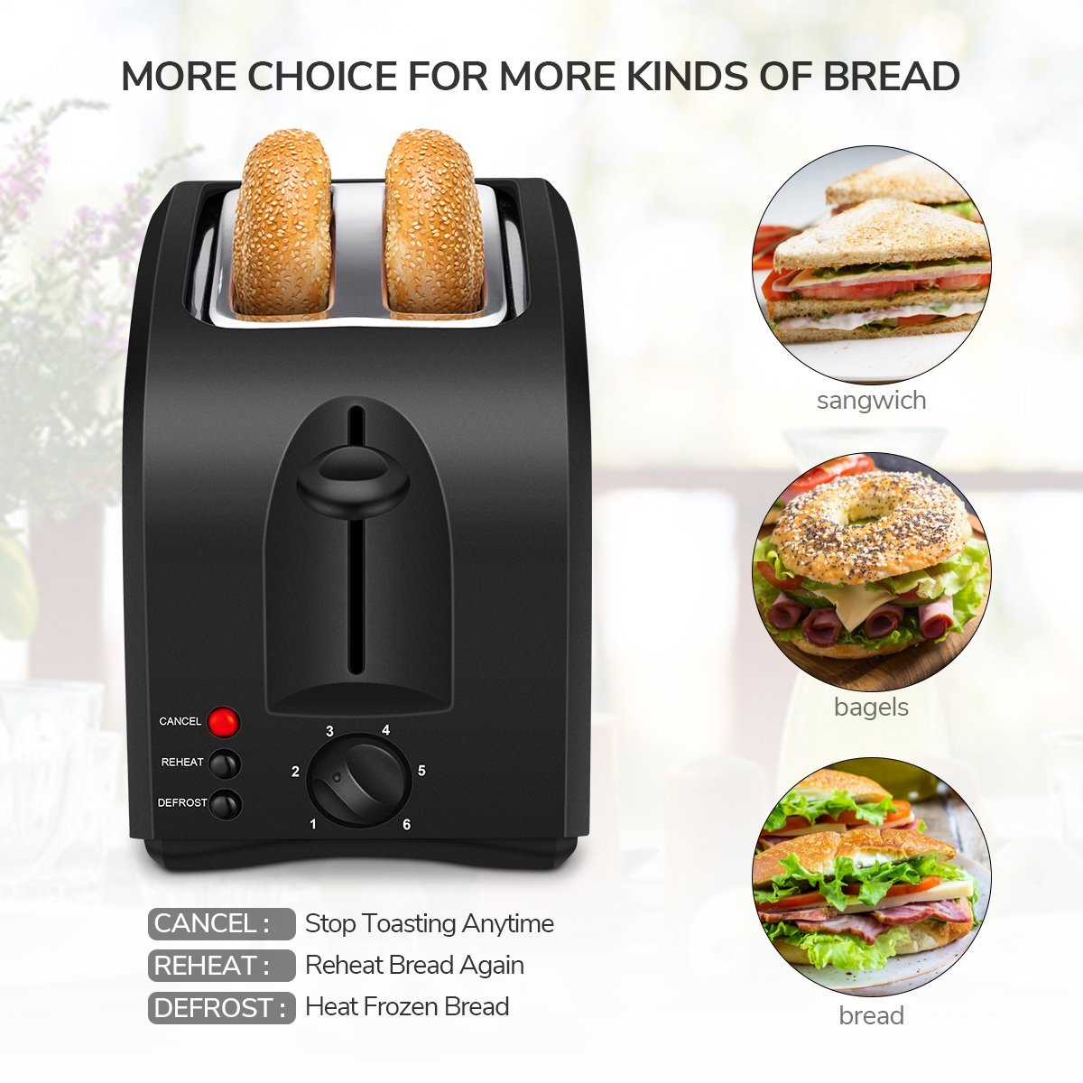 2 Slice Toaster, HOME GIZMO Cool Touch Toaster 2-Slice Wide Slot, Compact Toasters with Defrost/Reheat/Cancel Function Extra Removable Crumb Tray- Stainless Steel