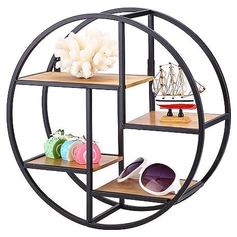 Metal Round Hanging Floating Shelf Home Office Storage Display Rack Decoration Furniture