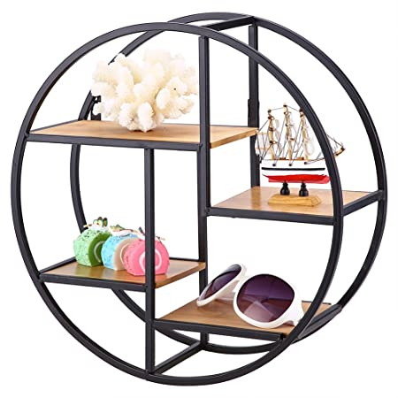 Greensen Round Wall Rack Metal Wood Shelf Display Storage Bookshelf Unit Flower