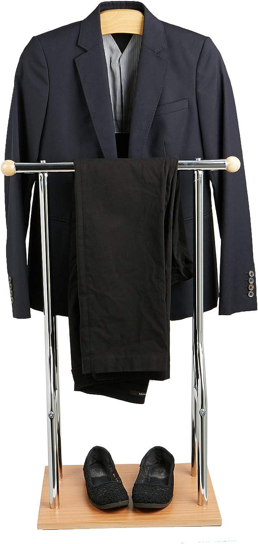 Mind Reader Steel, Wood Valet Suit Rack Stand, Bamboo Brown