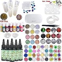 Frenshion 5 piezas 30 ml de resina epoxi de cristal adhesivo UV, 1 pinza de lámpara 60 decoración 12 piezas de molde de silicona 100 anillos 13 pigmento líquido de color para joyería de artesanía pendientes collar de pulsera