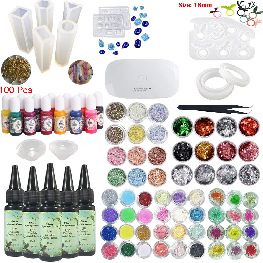 5 Pieces 30ML Crystal Epoxy Resin UV Glue, 1 Lamp Tweezer 60 Decoration 12Pcs Silicone Mould 100 Rings 13 Color Liquid Pigment For Handcraft Jewelry Earrings Necklace Bracelet