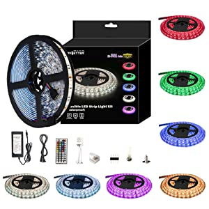 DAYBETTER LED Strip Lights Kit RGB Waterproof SMD 5050 16.4Ft/5M 300 LEDs with 44Key Remote Controller and Power Supply for Holiday Party Home Garden Decoration Kicthen Bedroom