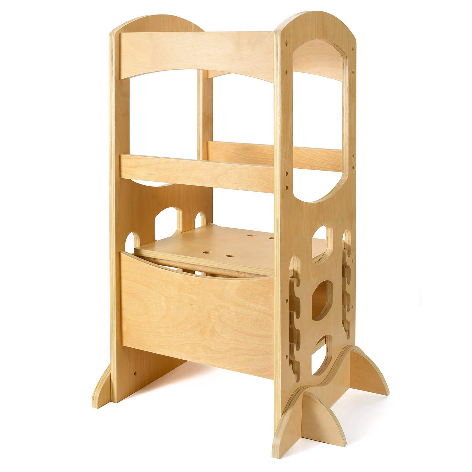 Acko Wooden Kids Kitchen for Toddler&Kid Kitchen Exercising Helper,Holds Up To 220lbs-Natural