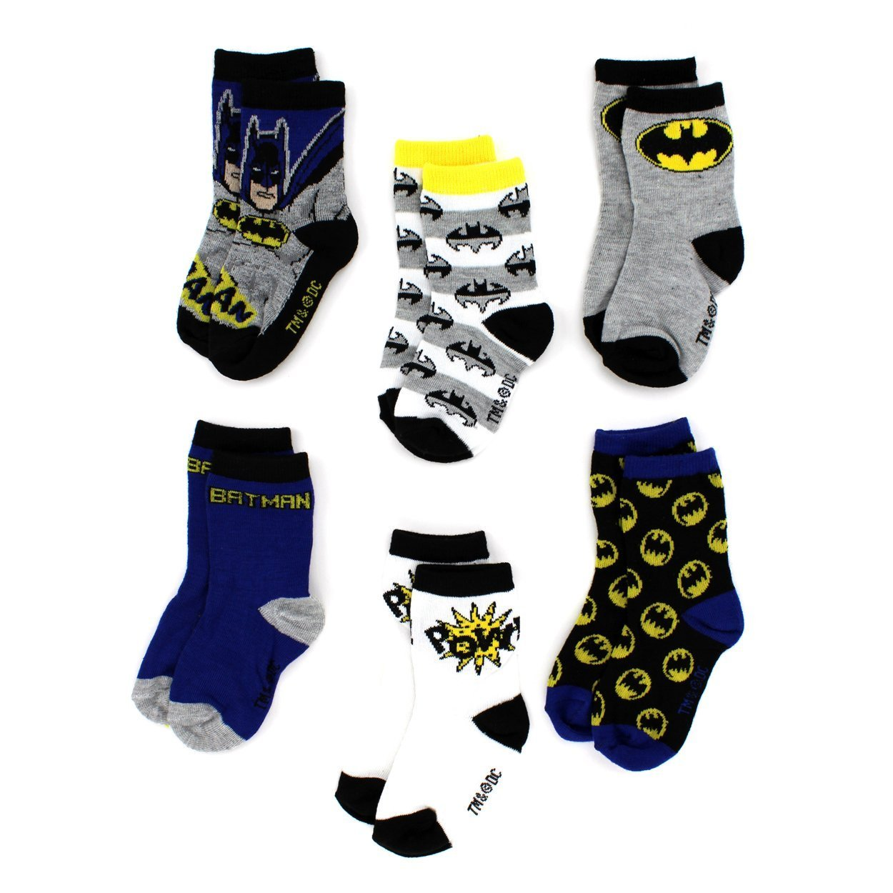 Batman Boys 6 pack Crew Socks (Baby/Toddler/Little Kid)