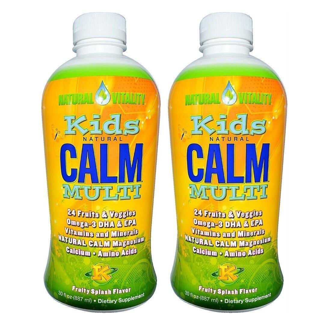 Natural Vitality Kids Natural Calm Multi, Organic Fruity Splash Flavor, 30 Ounce, 2-Pack