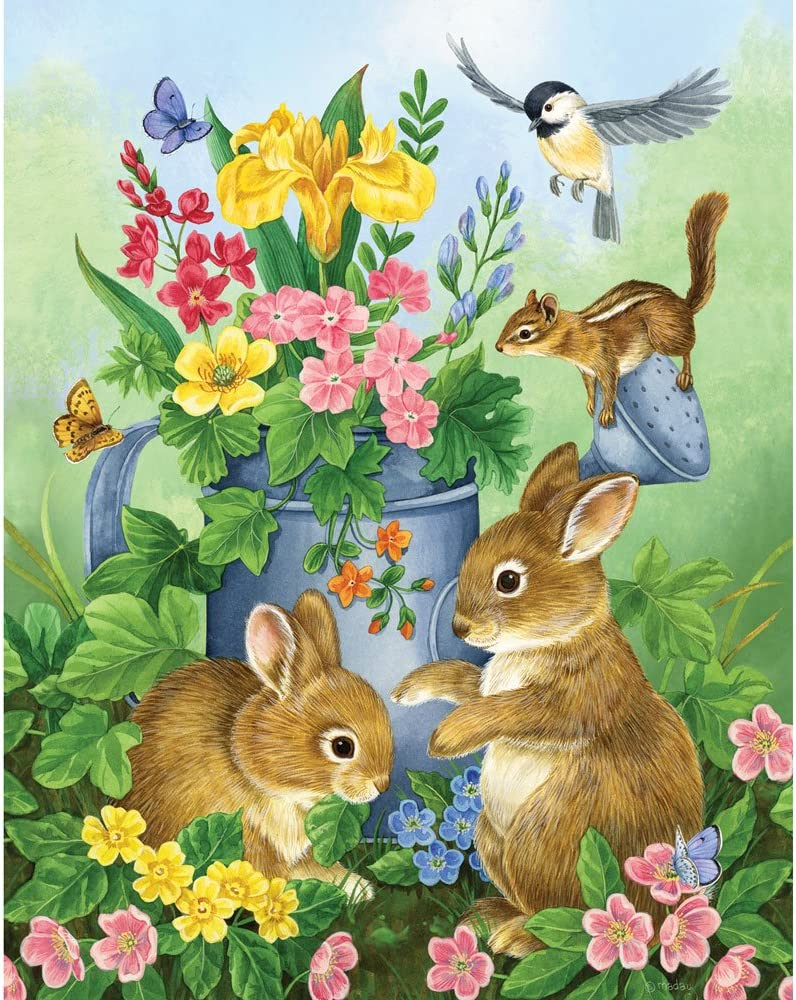200 Piece Jigsaw Puzzle A Touch of Spring by Artist Jane Maday Bits and Pieces Cute Bunnies 200 pc Jigsaw