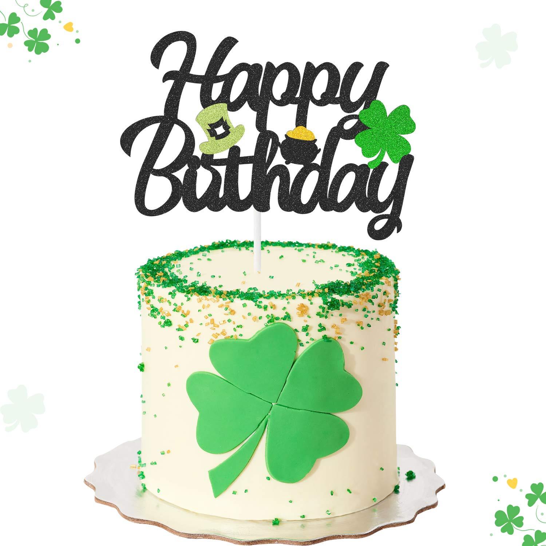 Remarkable Amazon Com Shamrocks Happy Birthday Cake Topper With Green Top Personalised Birthday Cards Veneteletsinfo