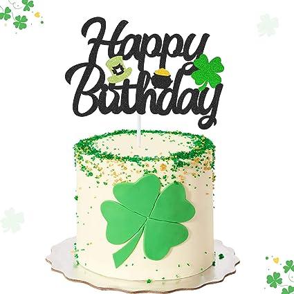 Cool Amazon Com Shamrocks Happy Birthday Cake Topper With Green Top Funny Birthday Cards Online Necthendildamsfinfo