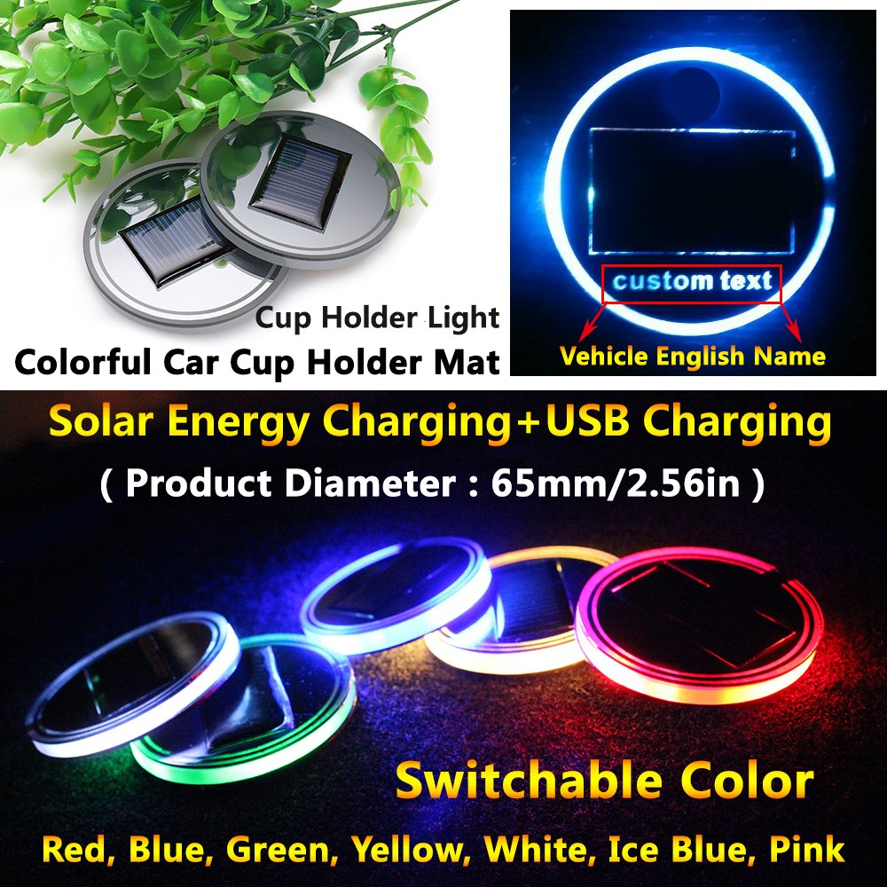 (Pack of 1) Solar Energy LED Car Cup Holder Bottom Pad Mat Trim Interior Atmosphere lights lighting lamps for fiat 500 abarth 500l 500x Panda spider 124 500e Freemont Bravo Linea accessories