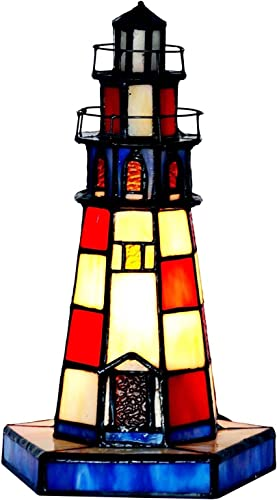 Bieye L11005 Lighthouse Tiffany Style Stained Glass Accent Table Lamp Night Light, 10 inches Tall, Red
