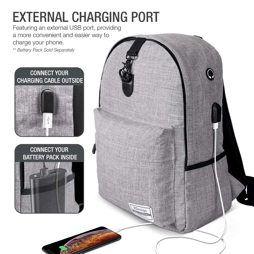 XDesign Travel Laptop Backpack with USB Charging Port +Anti-Theft Lock [Water Resistant] Slim Durable College School Computer Bookbag for Women, Men, Outdoor Camping&Fits Up to 16-inch Notebook -Grey by XDesign  (Image #5)