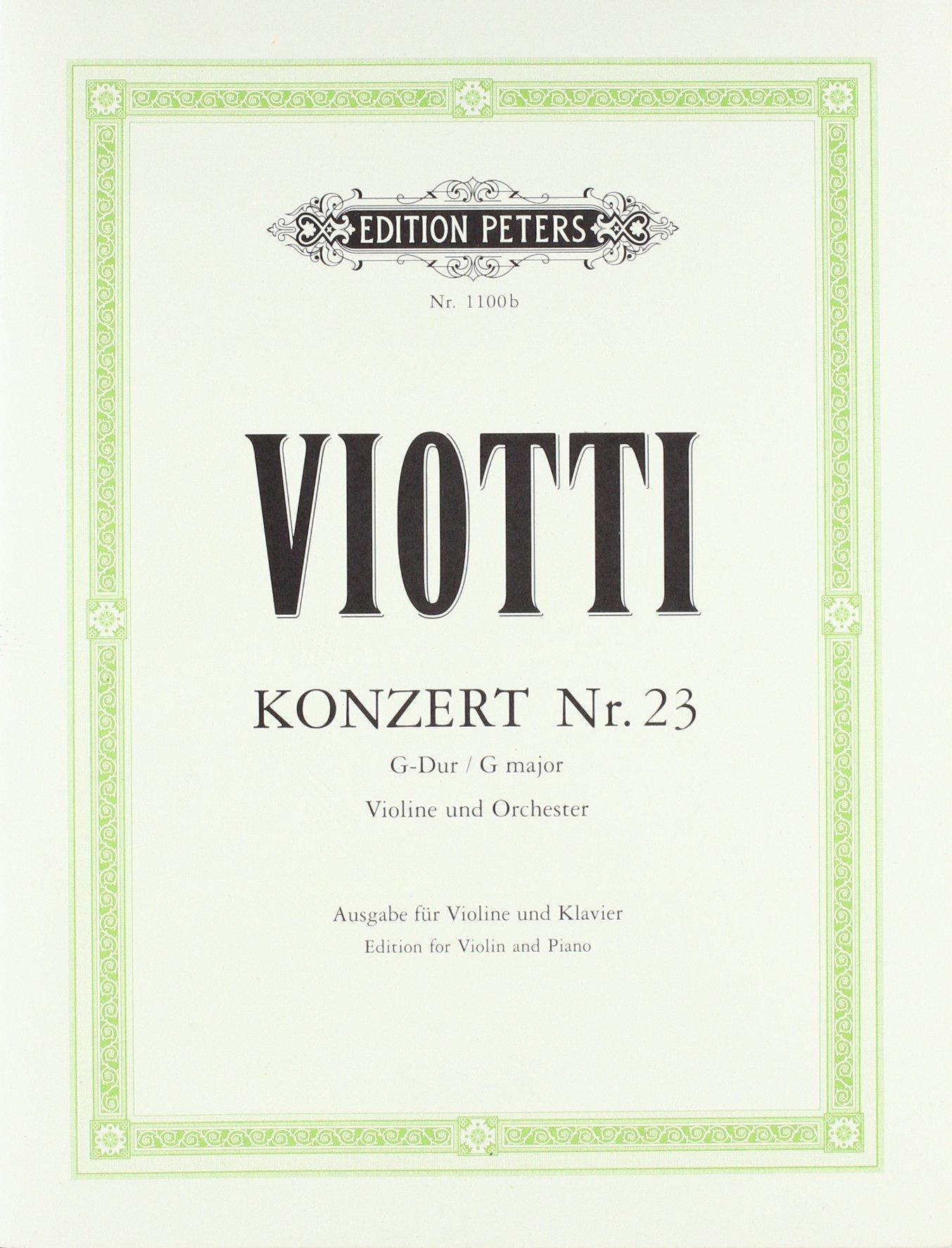 Cto Violon No23 Sol Maj. - Vl/Po (Allemand) Brochure – 1 janvier 2009 Viotti Peters B00006M2D9 Musikalien