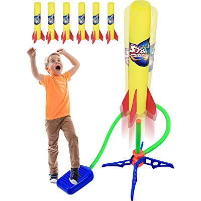 Kiddie Play Rocket Launcher for Kids to Stomp on with 6 Rockets Outdoor Toys Gift for Boys and Girls Ages 6 Years and Up: Toys & Games
