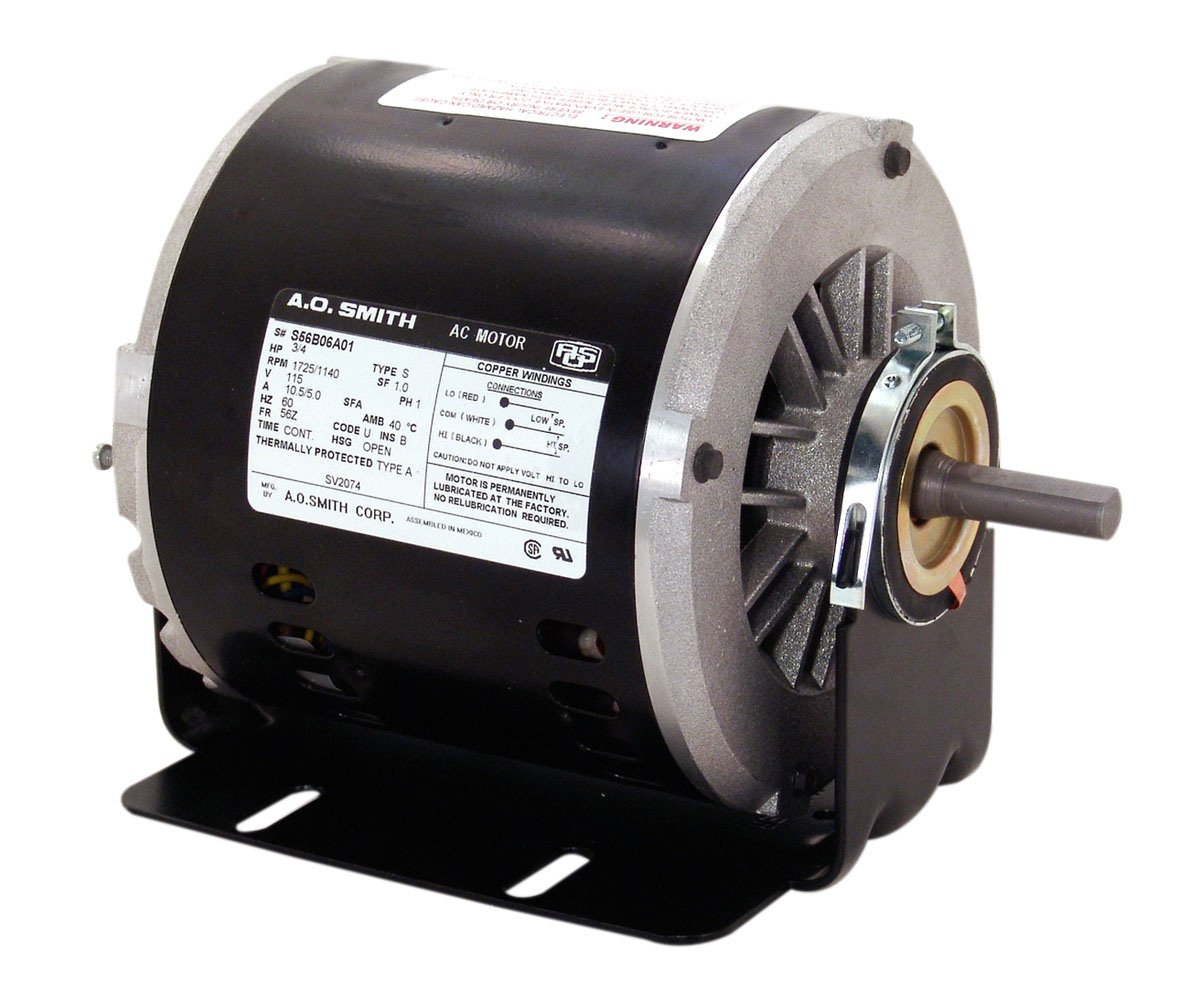 A.O. Smith VB2034 1/3 HP, 1725 RPM, 1 Speeds, 56Z Frame, CCWLE Rotation, 1/2-Inch by 1-5/8-Inch Flat Shaft Evaporative Cooler Motor