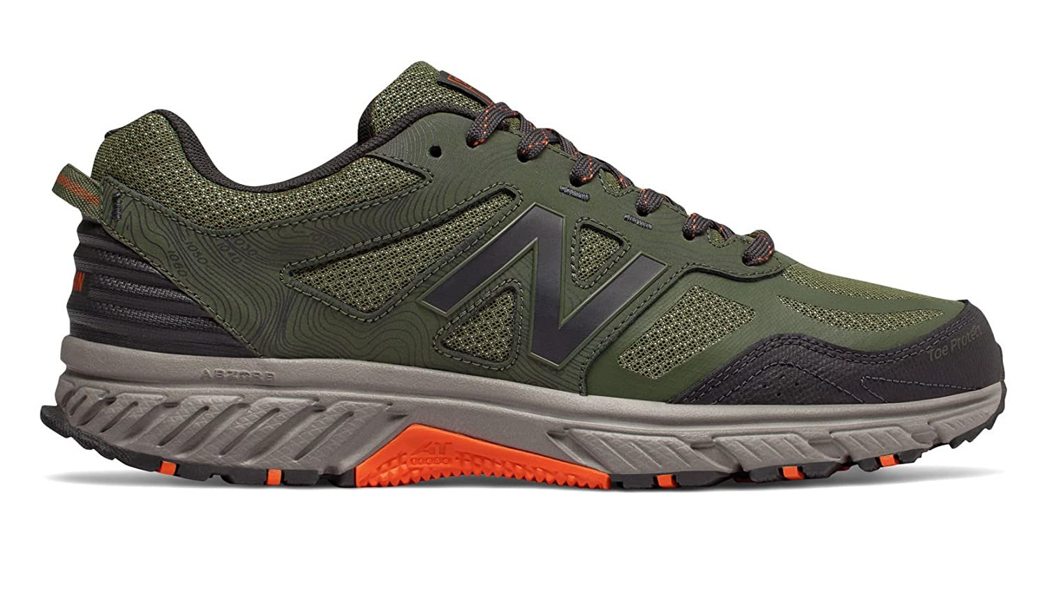 New Balance Men's 510v4 Cushioning Trail Running Shoe B07B6XH3CD 7.5 D(M) US|Dark Covert Green/Phantom/Bengal Tiger