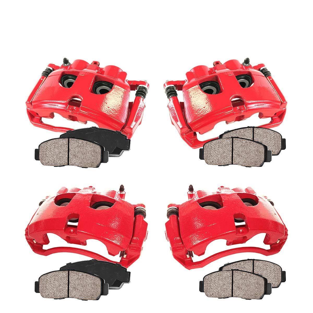 Ceramic Brake Pads 4 Callahan CCK03476 REAR Premium Loaded Red Calipers Hardware Kit FRONT