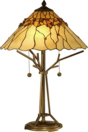 Dale Tiffany TT10598 Tiffany Mica Two Light Table Lamp Collection in Bronze Dark Finish, 16.00 inches