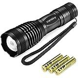Vansky® Torche LED Lampe de Poche, 5 Modes, Zoomable Led Poche - 3 piles AAA Inclus