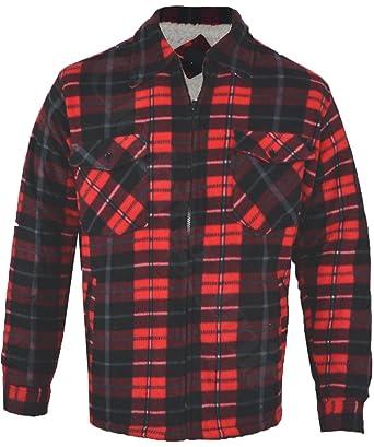 Mens Fur Lined Padded Fleece Shirt Lumberjack Work Jacket Check Warm