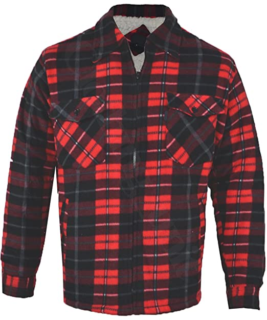 9e9386d592 Mens Fur Lined Padded Fleece Shirt Lumberjack Work Jacket Check Warm Big  Size S-5XL  Amazon.co.uk  Clothing