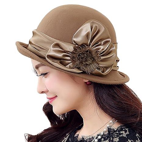 e7452b30c5b TTjII Womens hat With flower Bucket Bell Shaped Cap 1920s Vintage 100%Wool  Felt Cloche