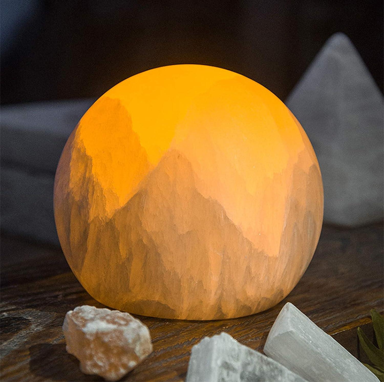 LYEJFF Lámpara de selenita Natural, lámpara de Mesa de Piedra Artesanal con Interruptor de atenuador Luz Nocturna y luz Decorativa a la decoración de su hogar al Lado de la