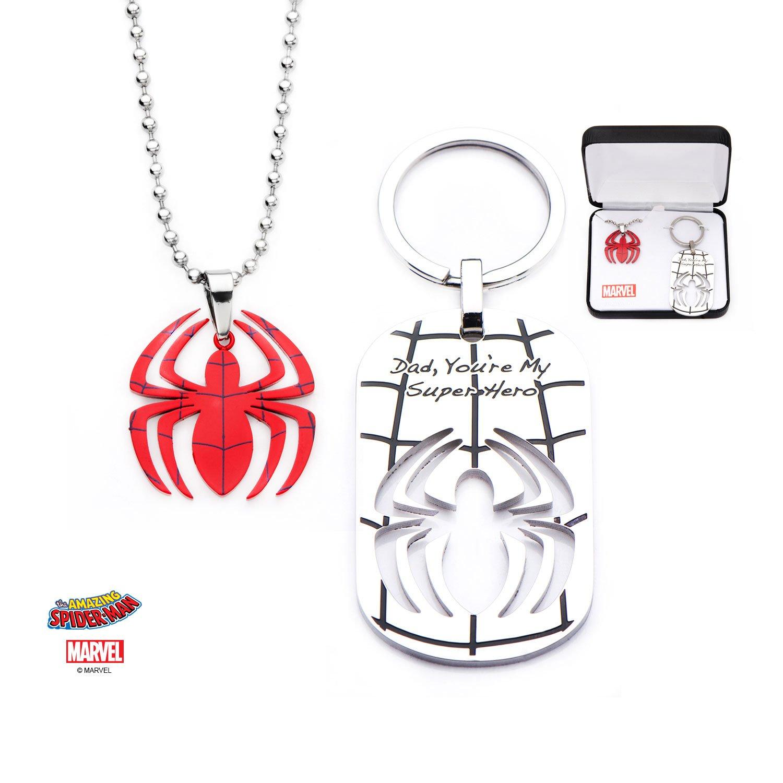Spider-Man Stainless Steel Pendant with Steel Ball Chain & Keychain Superhero