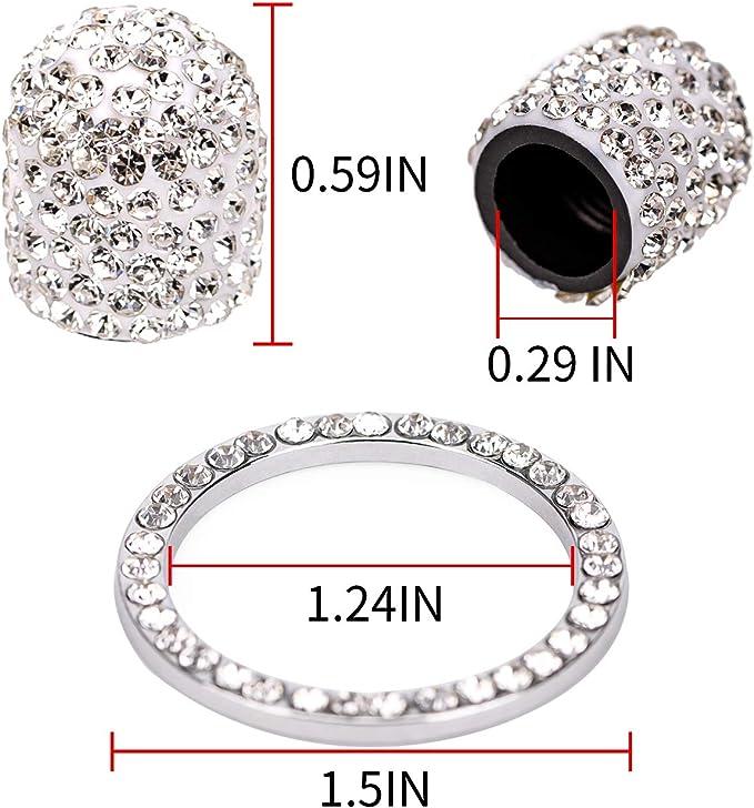 balikha 4 Pi/èces Argent Couronne Bling Diamant Diamant Bouchons De Valve Bouchons De Voiture Camion V/éhicule Rouge