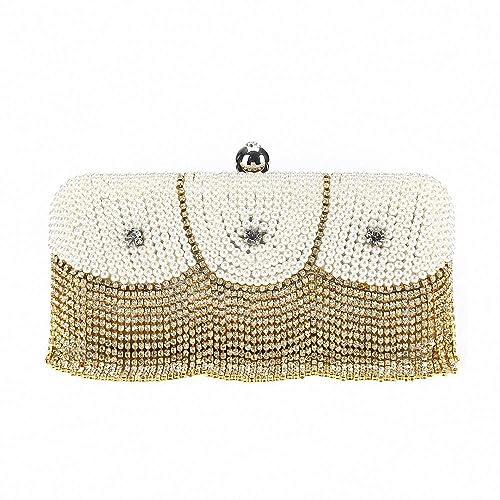 Bolso de Cadena con Perlas con Flecos Bolso de Fiesta con Diamantes de imitación Bolso con