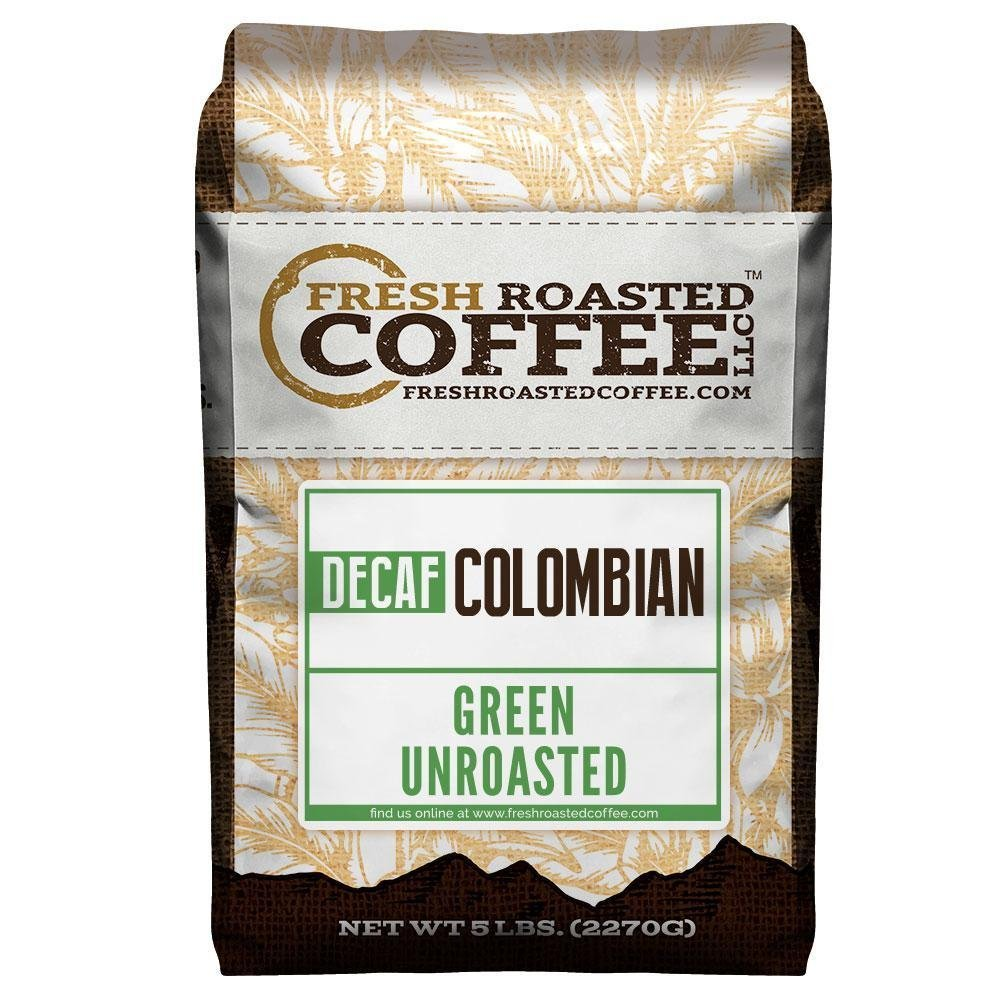 Fresh Roasted Coffee LLC, Green Unroasted Colombian Decaffeinated Coffee Beans, 5 Pound Bag by FRESH ROASTED COFFEE LLC FRESHROASTEDCOFFEE.COM