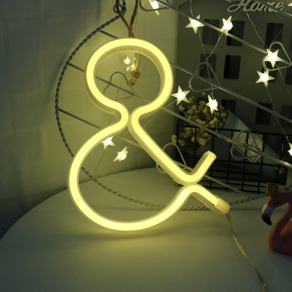 Light up LED Neon Letter Sign Ampersand Wall Decorative Neon Lights Warm White Alphabet Marquee Letter Lights Night Lamp for Home, Living Room, Birthday Wedding Party Decor - & by Obrecis (Image #2)