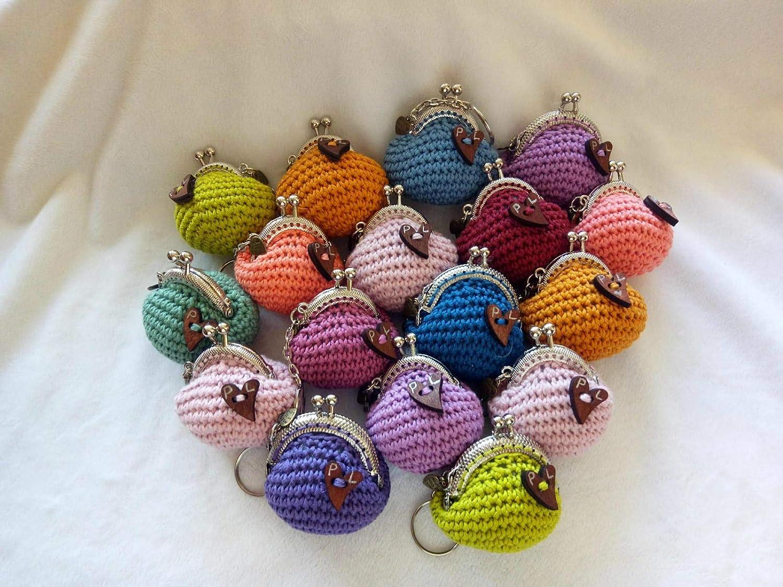 Lote de 5 Elegantes Monederos Multicolores Hechos a Crochet. Carteras y Neceseres.Complementos. Regalos Originales. Detalles de Bodas, Comuniones, Bautizos, Cumpleaños.6 cm(Unidad)