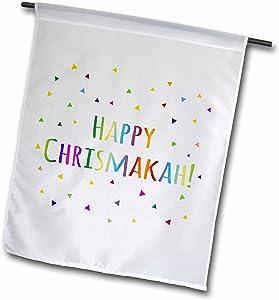 "3dRose fl_202086_1""Happy Chrismakkah - Joint Christmas and Hanukkah Holiday Blessing Garden Flag, 12"" x 18"""