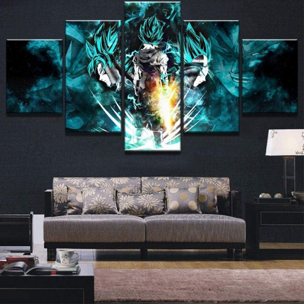 LHMTZ Cinque moduli dipinti decorativi 150*100CM 5 pezzi HD Print Dragon Ball Super Goku e Vegeta Poster Dipinti su tela Wall Art for Decorazioni per la casa Decorazioni per pareti Opere darte canva
