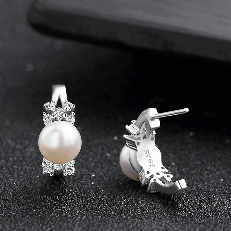 Sterling Silver .925 Pearl Cubic Zirconia Earrings for Women Candy Stud Earrings-Silver Gnzoe Jewelry