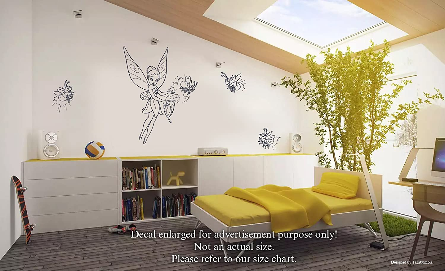 Amazon Com Tinker Bell Wall Decals Magic Fairy Iridessa And Fireflies Stickers Decorative Design Ideas For Your Home Or Office Walls Removable Vinyl Murals Ec 0504 Arts Crafts Sewing