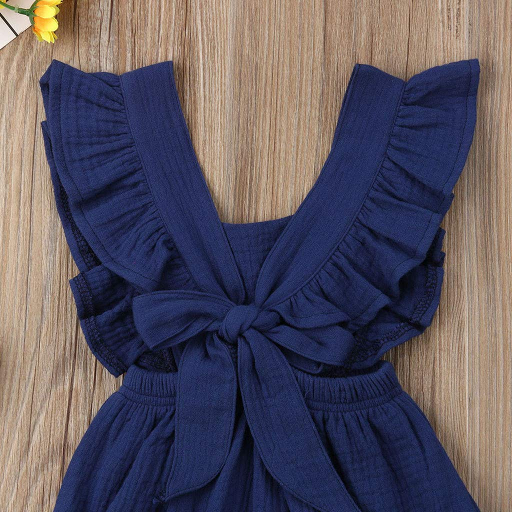 Greal 2019 New Cute Infant Baby Girls Sleeveless Color Solid Ruffles Backcross Romper Bodysuit Outfits Set Dark Blue by G-real-Girls Outfits (Image #3)