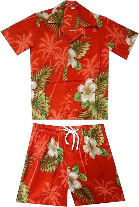 Original King kameha   Funky Hawaii Camisa y pantalones   2 piezas Cabana   Niños   2 – 8 años, Print   Flores Hojas Palmeras Hawaii, color rojo: Amazon.es: Ropa y accesorios