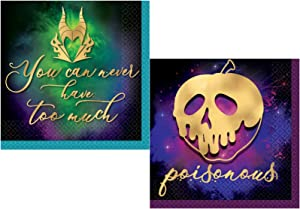 Disney Villains Themed Cocktail Beverage Napkins Set - Bundle Includes 32 Beverage Napkins in 2 Different Designs