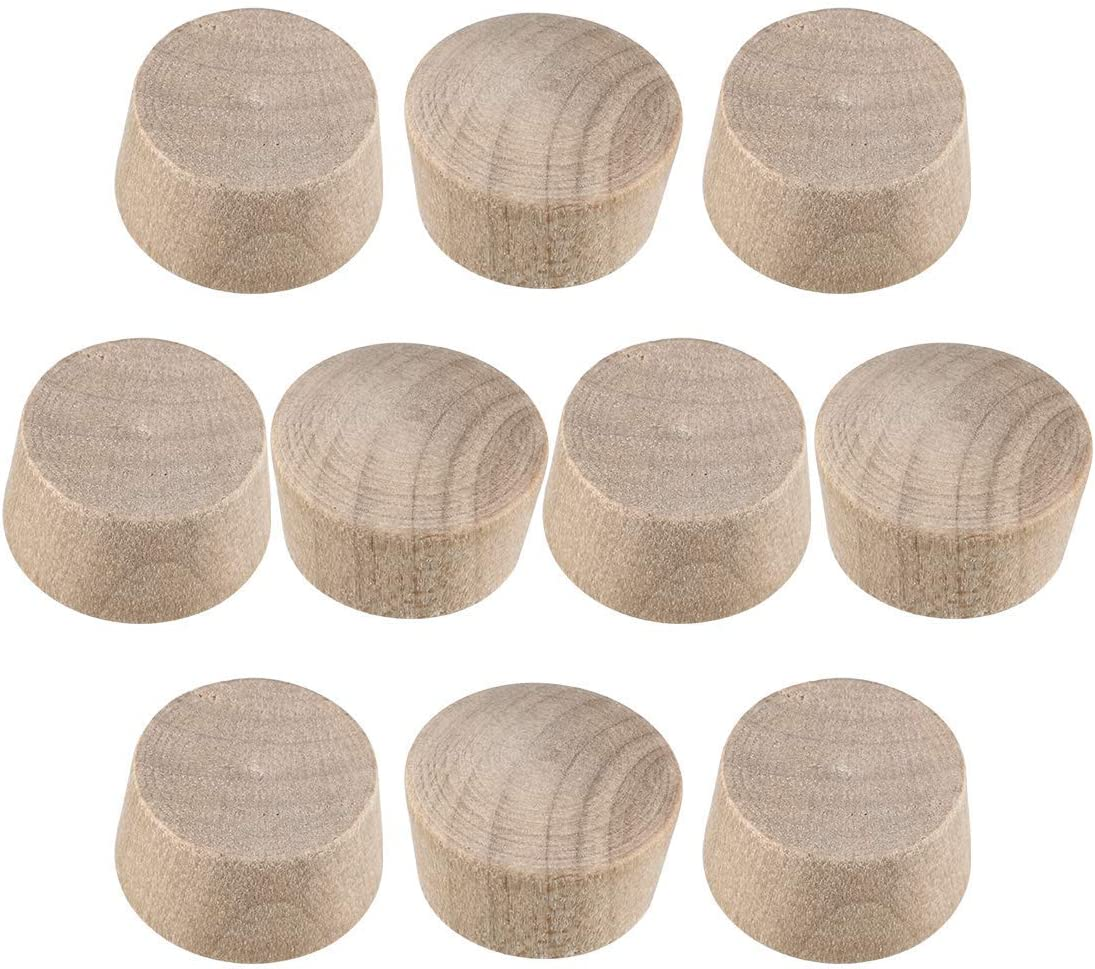 wood button top plugs 1/2 inch cherry hardwood furniture plugs 9/25 inch height 100 pieces
