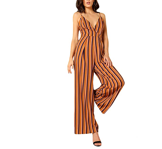 dfda8a323a6d Amazon.com  stronggirl Striped Deep V Neck Wide Leg Jumpsuit 2018 Spaghetti Strap  Sleeveless Backless High Waist Zipper  Clothing